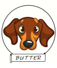 Cartoon image of Butter, the mascot for Butter's Brand Pet Care Products, featuring premium handicapped pet drag bags.